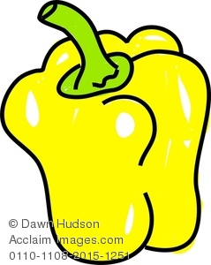 A Whimsical Drawing of a Yellow Pepper Clipart Image.