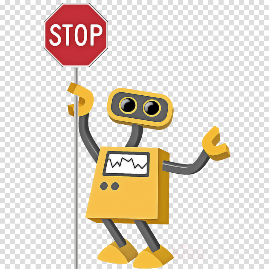 cartoon yellow technology sign traffic sign clipart.