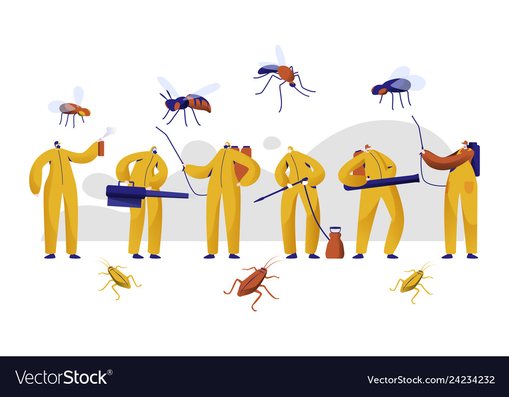 Mosquito pest control professional character set.