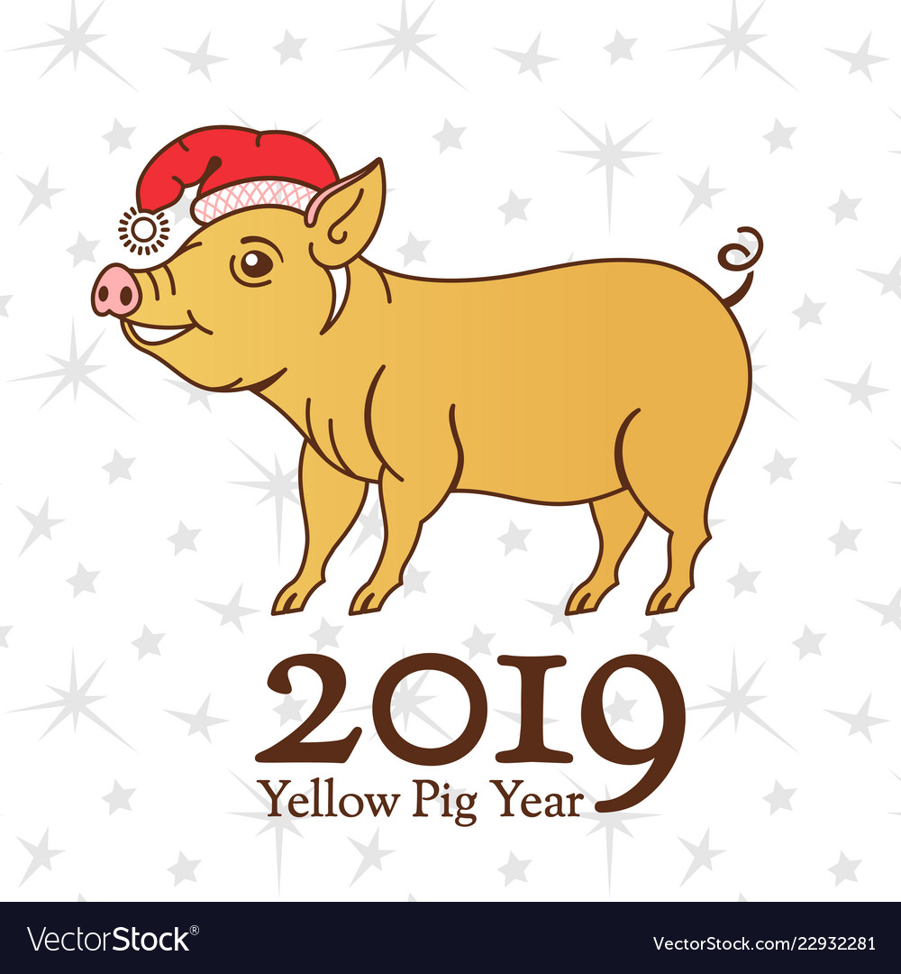 Yellow earth pig symbol of 2019 on the.