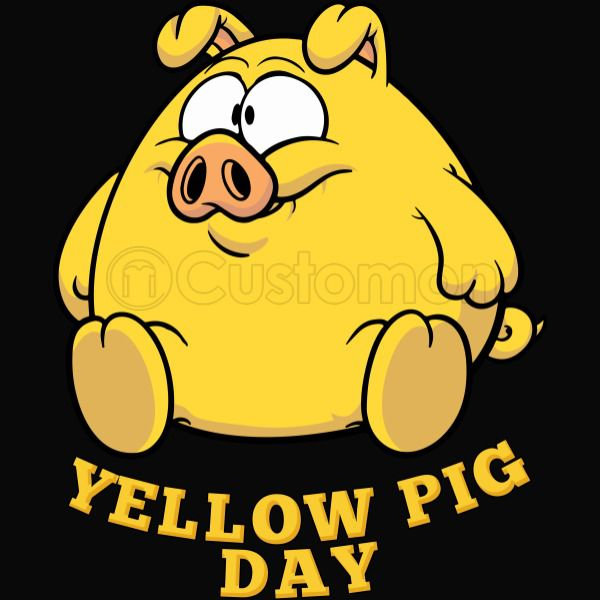 Yellow Pig Day Funny Apron.