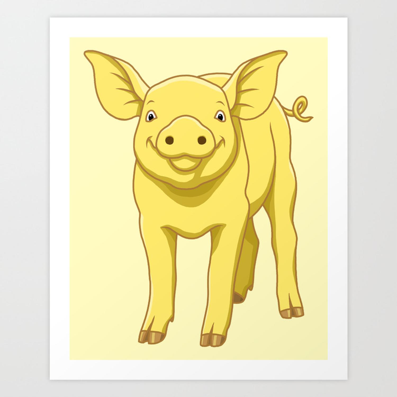 Cute Piglet July 17 Yellow Pig Day Art Print.
