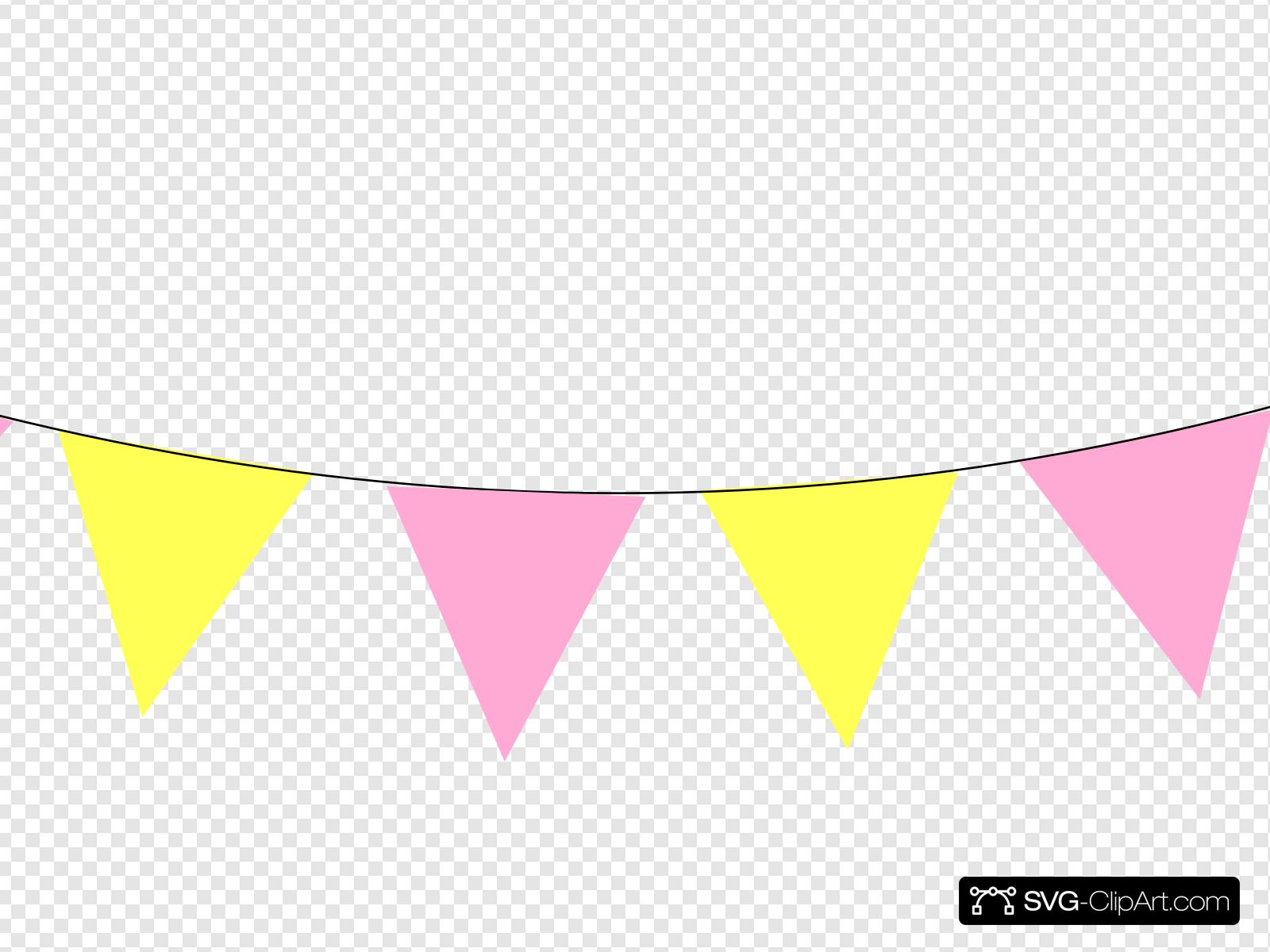 Pink Yellow Bunting Clip art, Icon and SVG.