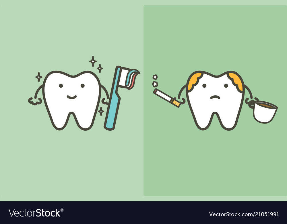 Compare of healthy and unhealthy tooth.
