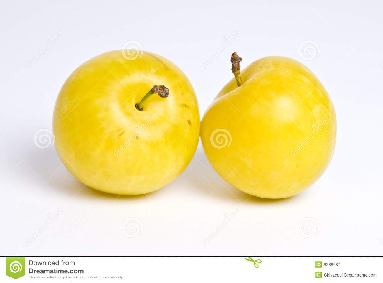 Two Yellow Plums Royalty Free Stock Photography.