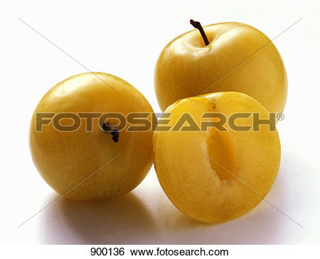 Stock Images of Two Whole Yellow Plums with One Half 900136.