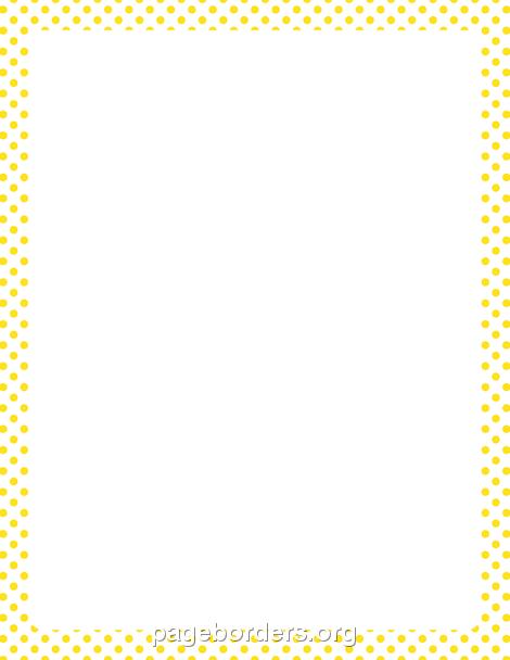 Yellow and White Polka Dot Border: Clip Art, Page Border.