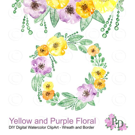 Watercolor Clip Art, Watercolor Flowers Clipart, Floral Frame.