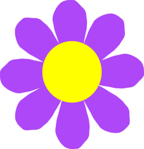 Yellow and purple flower clipart.