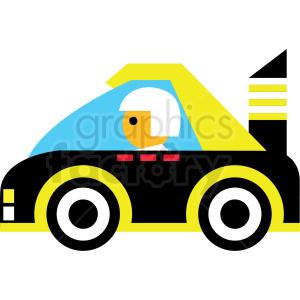 cartoon yellow race car vector icon clipart. Royalty.
