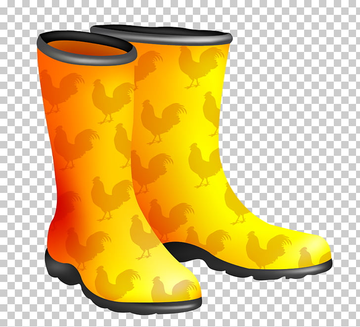 Chicken Wellington boot Rooster, Yellow rain boots PNG.