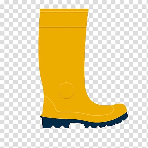 Wellington boot, A yellow rain boots transparent background.