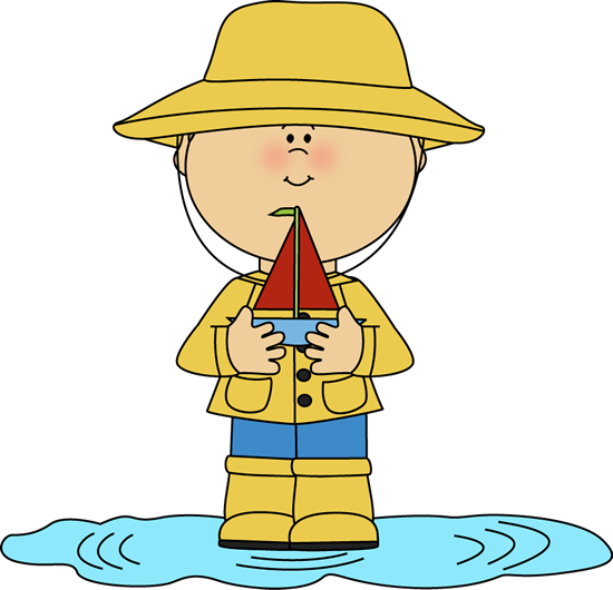 Boy in Rain Puddle with Toy Boat Clip Art.