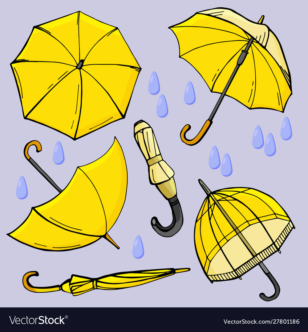 Set bright yellow umbrellas with raindrops.