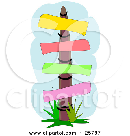 Clipart Illustration of a Wooden Sign Post With Yellow, Red, Green.