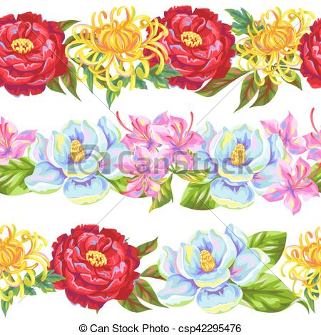 Vectors Illustration of Seamless pattern with China flowers.