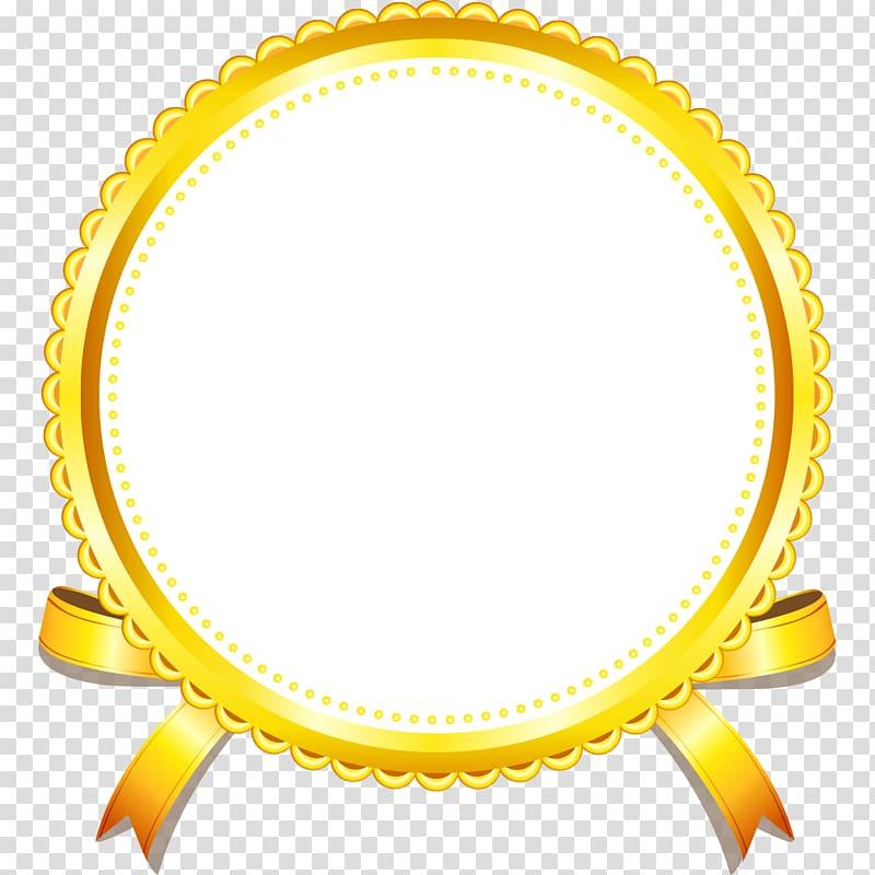 Round white and yellow ribbon illustration, Gold Yellow.