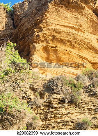 Stock Photograph of yellow rock sediments k29082399.