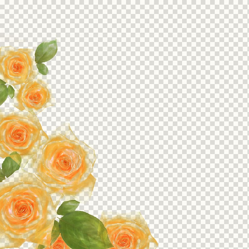 Yellow and green roses border, Rose watercolor floral border.