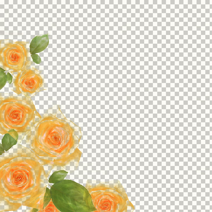 Rose watercolor floral border albums, yellow and green roses.