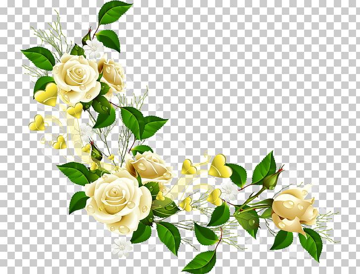 Border Flowers , corner flower, white roses border PNG.