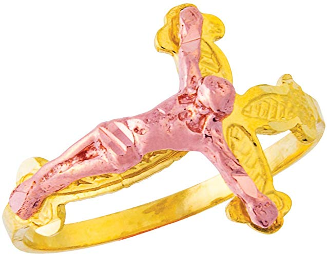 Amazon.com: 14K Ladies Jesus on Cross Filigree Ring Yellow.