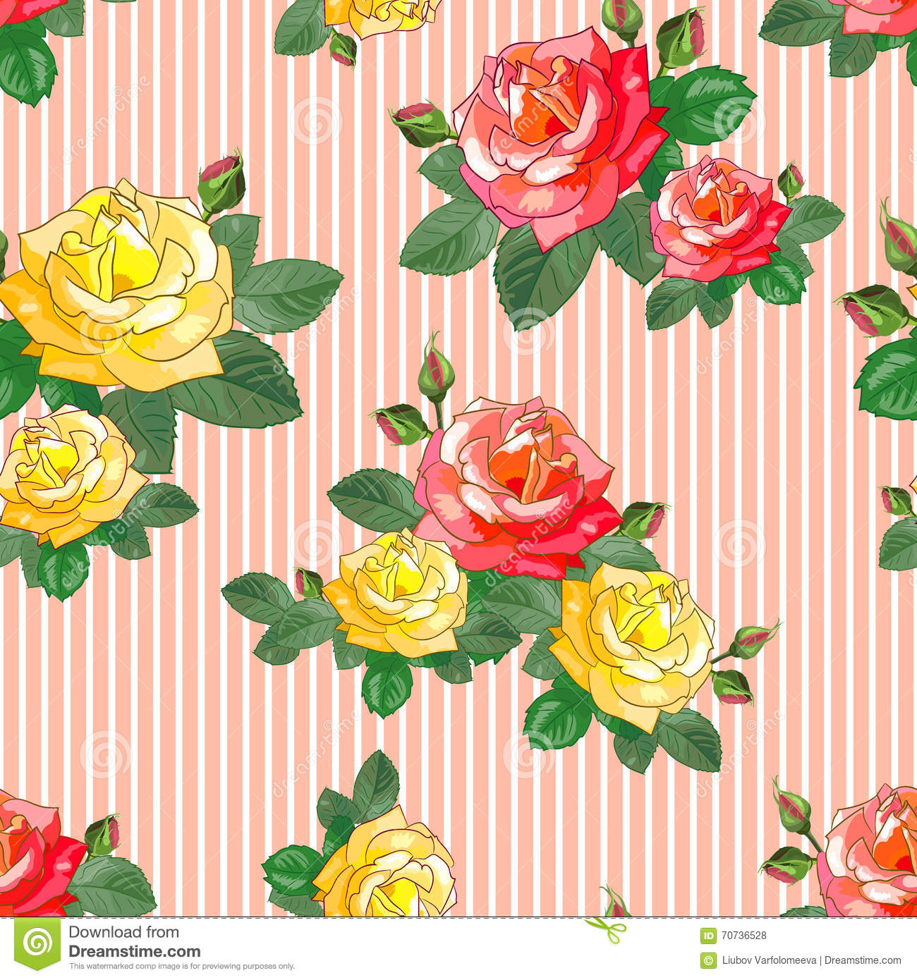 Red And Yellow Roses On A Striped Background Stock Vector.