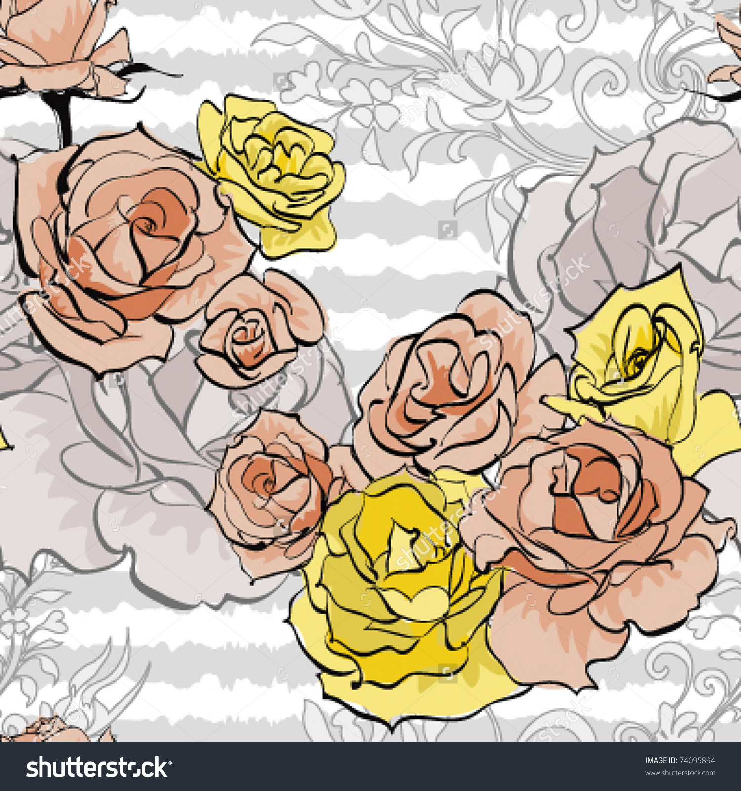 Pink Rose And Yellow Rose On White Stripe Background,Vector.