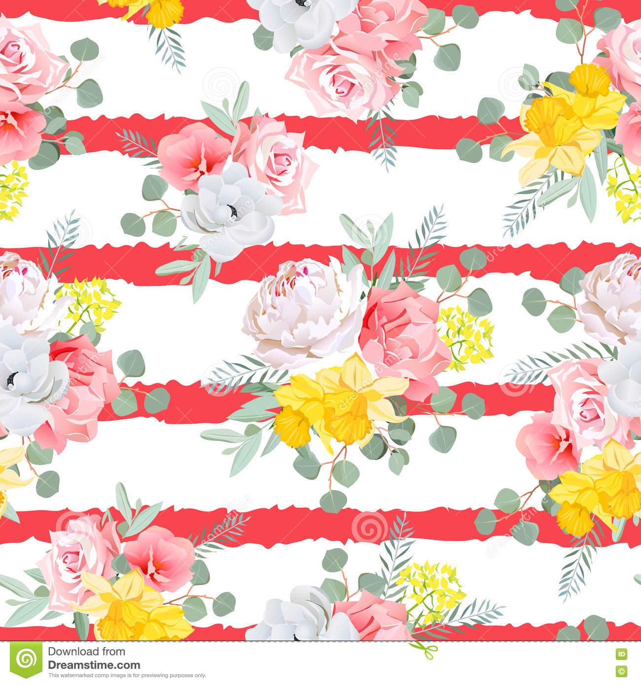 Red Striped Print With Bouquets Of Rose, Peony, Narcissus, Pink.