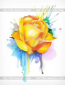 Watercolor painting, yellow rose.