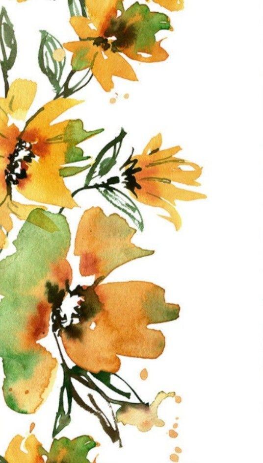 Watercolor Hand Painted Floral Paper. Digital Scrapbook.