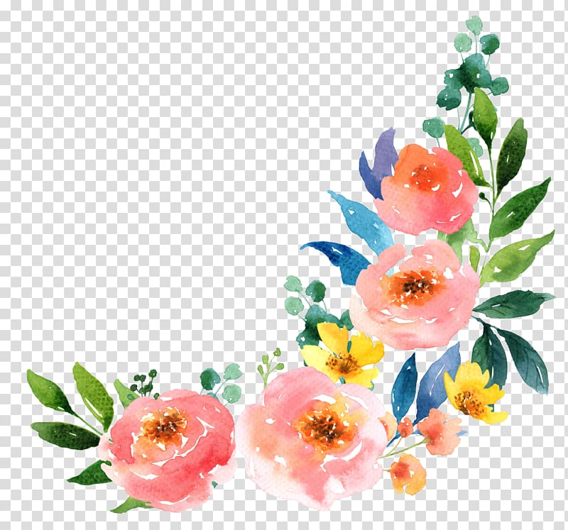 Pink and yellow flowers border, Paper Watercolour Flowers.