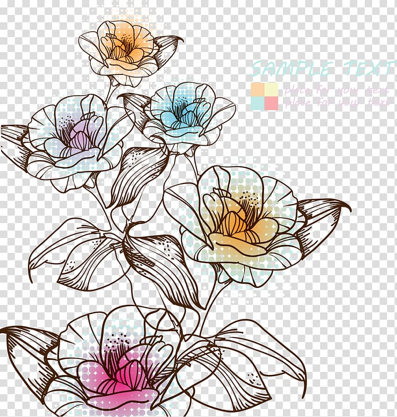 Pink and yellow rose flowers illustration, Watercolor.
