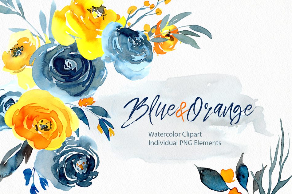 Watercolor blue orange yellow flowers png.