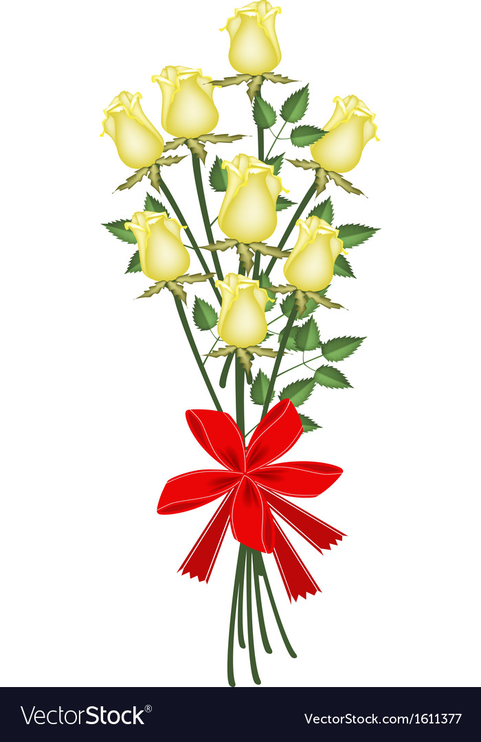 A Lovely Yellow Roses Bouquet with Red Ribbon.
