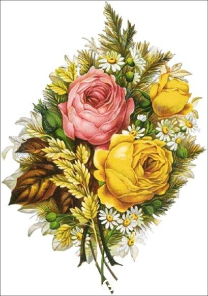 Yellow and Pink Roses.