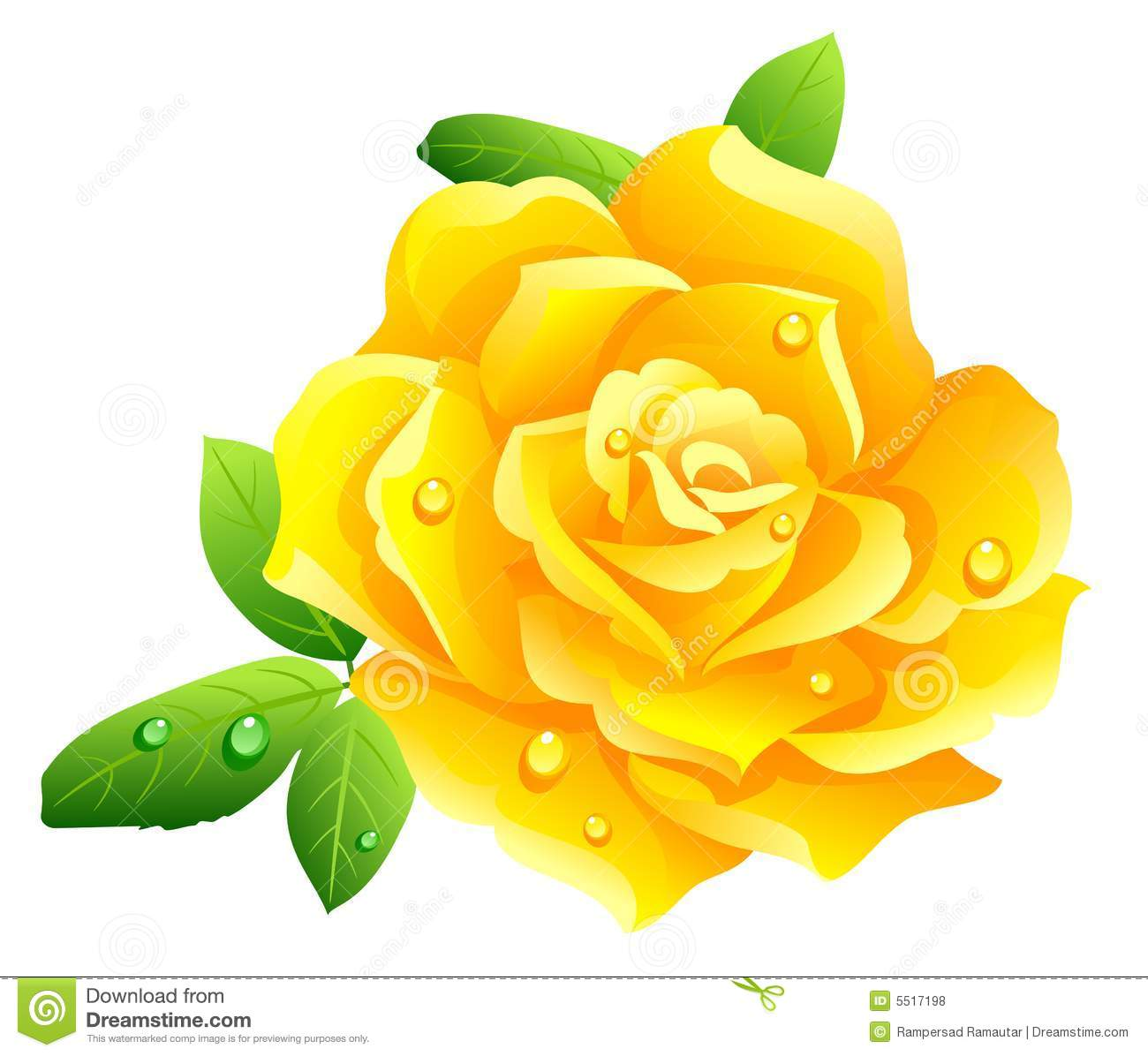 Tea Rose Clipart Black And White: Single Yellow Flower Clipart