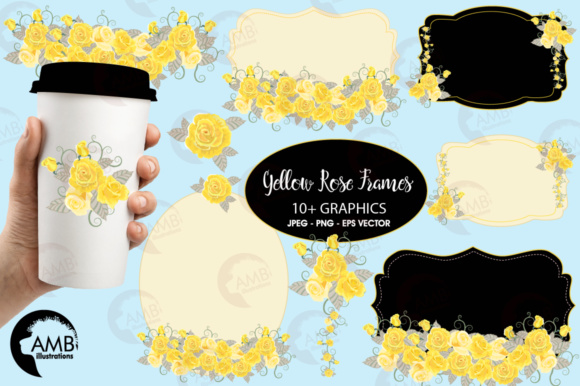 Yellow Rose Frames Clipart.