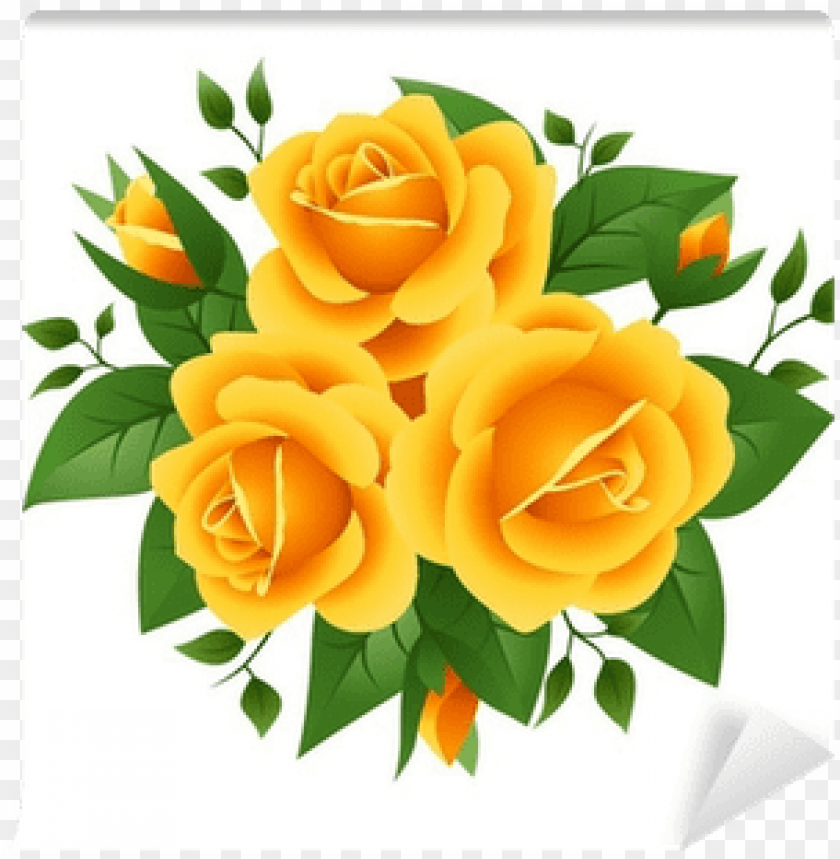three yellow roses.