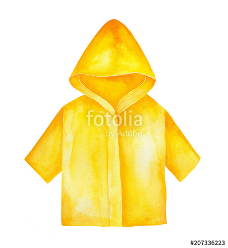 Yellow raincoat with hood and sleeves to wear outdoors in.