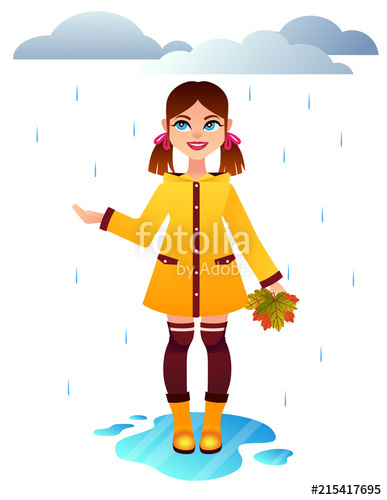 Vector colorful autumn illustration of arainy weather.