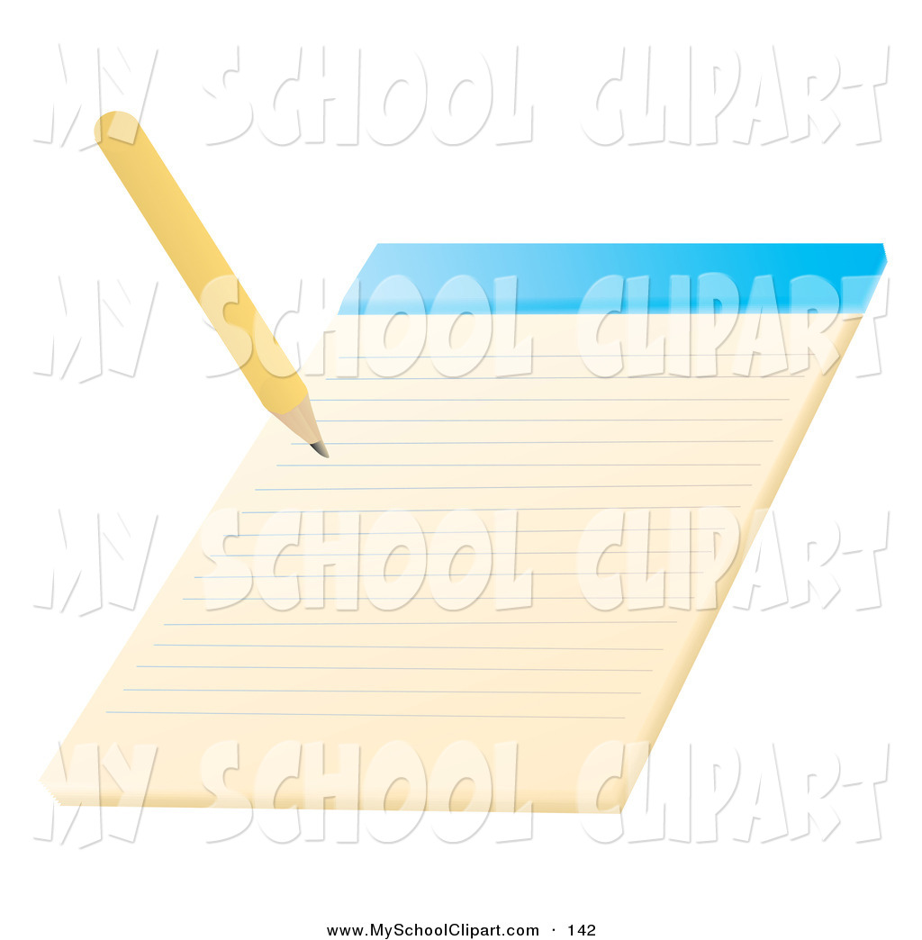 Clip Art of a Yellow Pencil Writing on a Notepad School.