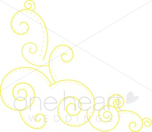 Yellow Scroll Accent Clipart.