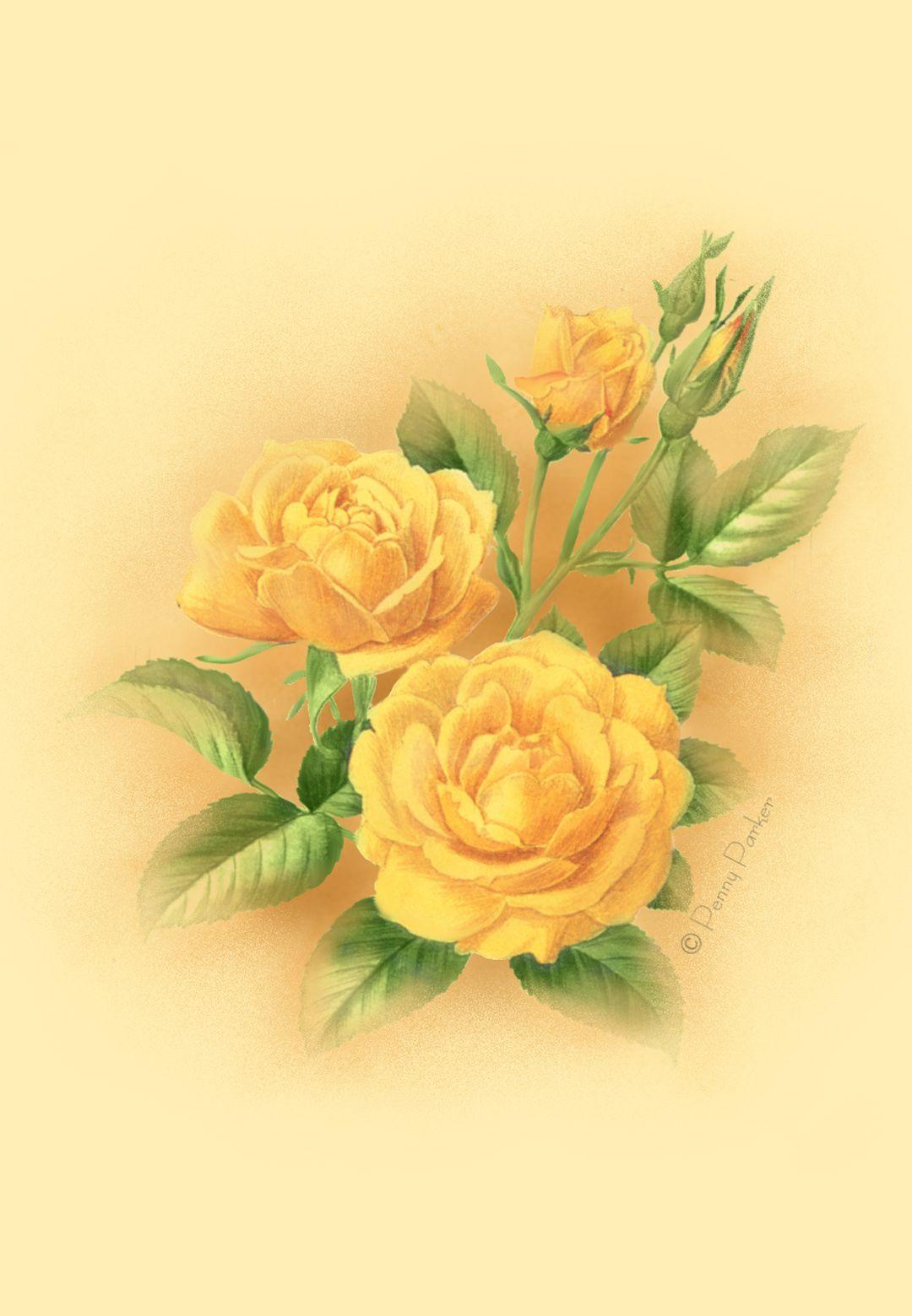 Free Printable Yellow Roses Greeting Card.