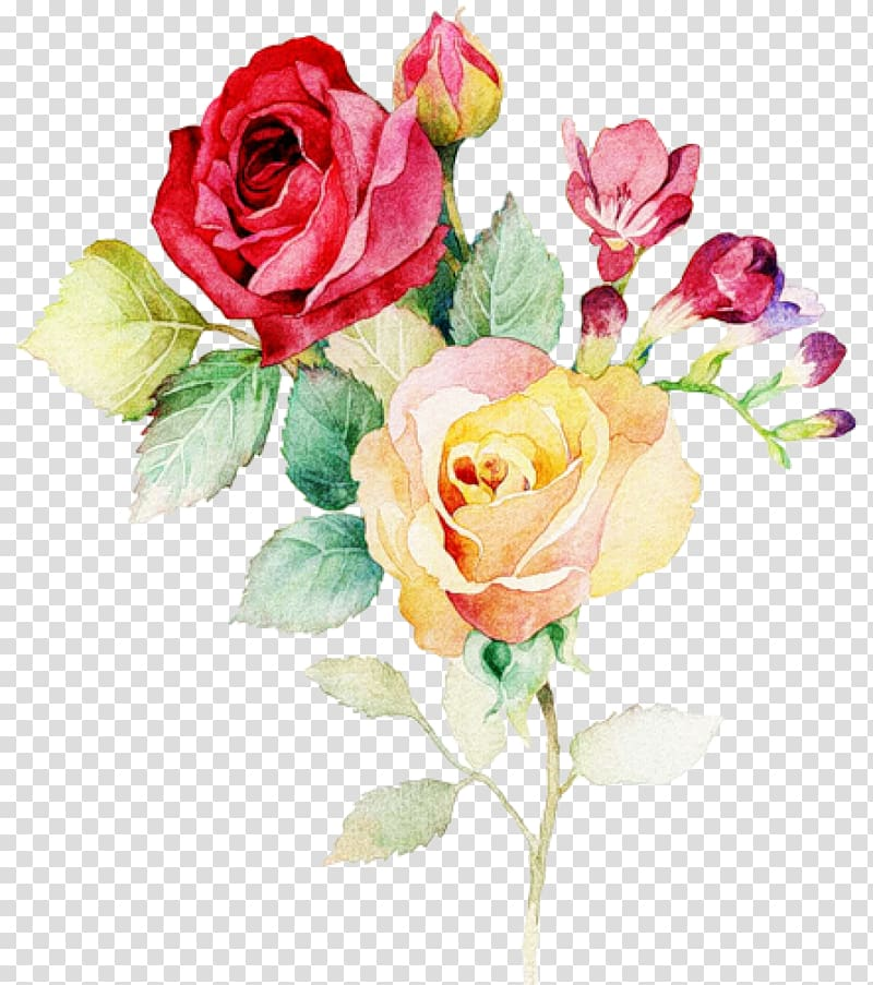 Red and yellow roses illustrations, Wedding invitation.