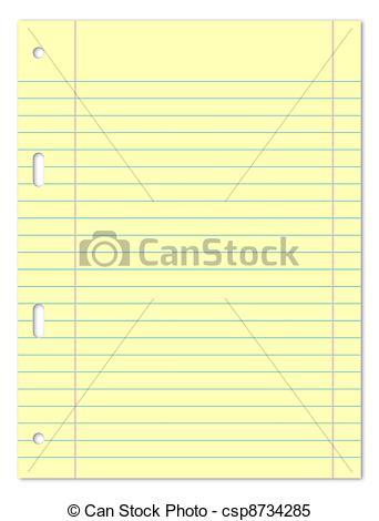 Stock Illustrations of A5 Lines Yellow Paper Sheet.