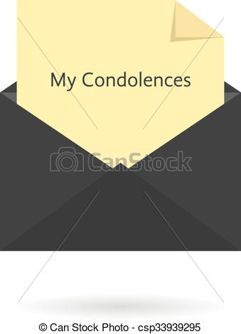 EPS Vectors of black envelope with my condolences inscription on.