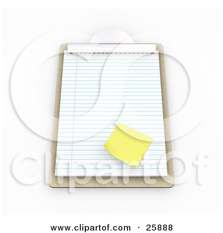 Clipart Illustration of a Yellow Sticky Note On A Sheet Of Lined.
