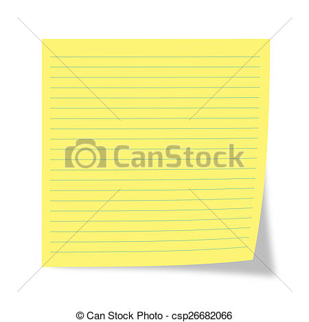 Stock Image of Yellow sheet of a reminder on a white background.