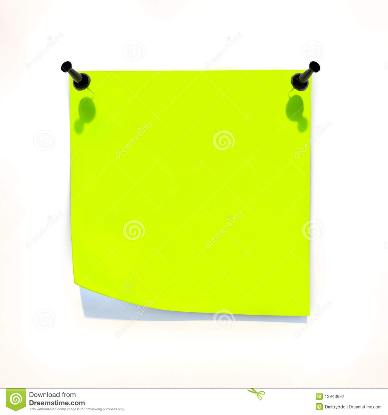 Yellow Sheet Of Paper Attached To The White Wall Stock Photography.